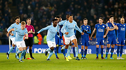 Manchester City's Lukas Nmecha (centre) celebrates with team-mates after victory in the penalty shoot-out during the Carabao Cup Quarter Final at the King Power Stadium, Leicester.