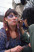 Alexandra Plows has her face painted. St Catherine's Hill. A Road Protest action at Twyford Down, near the Donga pathways, outside Winchester, against the M3 road extension. 1992-94<br />
