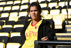 A general view of a Watford fan in the stands prior to the beginning of the match