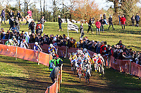ILLUSTRATION DEPART COURSE FEMMES ELITE  - 11.01.2015 - Cyclo cross - Championnats de France Femmes - Pontchateau<br /> Photo : Vincent Michel / Icon Sport