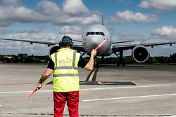 Airplane arriving<br /> Departure of the horses to the Rio Olympics from Liege Airport - Liege 2016<br /> © Hippo Foto - Dirk Caremans<br /> 30/07/16