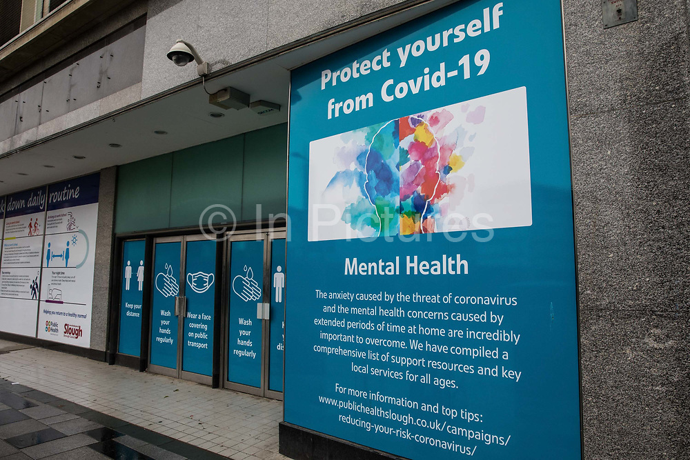 A public information display offering support to counter the mental health aspects of COVID-19 and the preventative lockdown is pictured on 4 October 2020 in Slough, United Kingdom. Slough Borough Council confirmed on 2nd October that its coronavirus infection rate is the highest in the south of England and Slough MP Tan Dhesi asked Health Secretary Matt Hancock in Parliament whether the local test centre in Montem Lane could be reverted to permit walk-in and drive-in visits without an appointment.