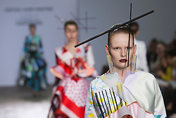 © Licensed to London News Pictures. 28/05/2013. London, England. Print collection by Min Nan Hui. Central St Martins BA Fashion show with collections by graduate fashion students. Photo credit: Bettina Strenske/LNP