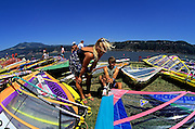 Image of windsurfers on the Columbia River at Hood River, Oregon, Pacific Northwest by Randy Wells