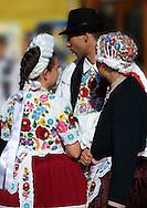 People in regional dress from  Kalocsa, Dél Alfodi Régio (South Alfoldi ) Kalocsa - Hungarian Regional Gastronomic Festival 2009 - Gyor ( Gy?r ) Hungary