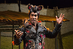 """© Licensed to London News Pictures. 05/08/2015. London, UK. Simon Webbe as Wolf. West End premiere of the children's story """"The 3 Little Pigs"""" at the Palace Theatre starring Simon Webbe as Wolf, Alison Jiear as Mother, Leanne Jones as Bee, Taofique Folarin as Bar and Daniel Buckley as Q. The show runs from 5 August to 6 September 2015. Photo credit: Bettina Strenske/LNP"""