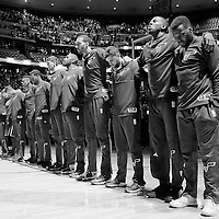 20 November 2016: Utah Jazz team stands during the national anthem prior to the Denver Nuggets 105-91 victory over the Utah Jazz, at the Pepsi Center, Denver, Colorado, USA.