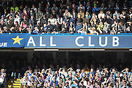 'All Star' banner inside Stamford Bridge during the first half. Barclays Premier league match, Chelsea v Manchester Utd at Stamford Bridge Stadium in London on Saturday 18th April 2015.<br /> pic by John Patrick Fletcher, Andrew Orchard sports photography.