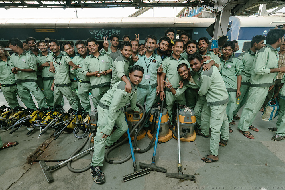 The clean up train crew.<br /> Outside the Dibrugarh-Kanyakumari Vivek Express, the longest train route in the Indian Subcontinent. It joins Kanyakumari, Tamil Nadu, which is the southernmost tip of mainland India to Dibrugarh in Assam province, near the border with Burma.