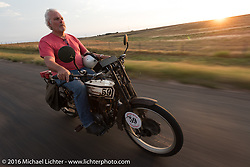 Steve Gonzales of California riding his 1915 Harley-Davidson in Dodge City during the Motorcycle Cannonball Race of the Century. Stage-8 from Wichita, KS to Dodge City, KS. USA. Saturday September 17, 2016. Photography ©2016 Michael Lichter.