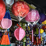 Vietnamese light shades for sale at Cho Dong Ba, the main city market in Hue, Vietnam.