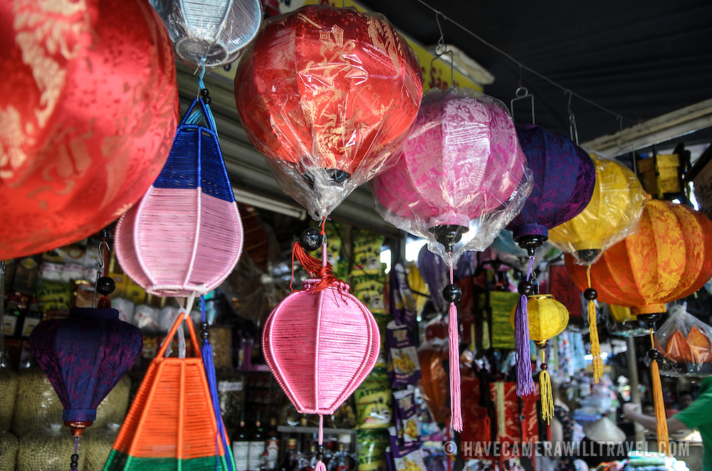 Vietnamese light shades for sale at Cho Dong Ba, the main city market in Hue, Vietnam.