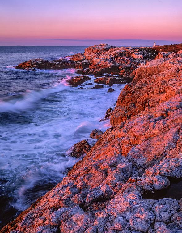 Waves & rocky shoreline. pink light at dawn, Star Island, Isles of Shoals, NH