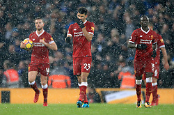 """Liverpool's Dominic Solanke shows his frustration during the Premier League match at Anfield, Liverpool. PRESS ASSOCIATION Photo. Picture date: Sunday December 10, 2017. See PA story SOCCER Liverpool. Photo credit should read: Peter Byrne/PA Wire. RESTRICTIONS: EDITORIAL USE ONLY No use with unauthorised audio, video, data, fixture lists, club/league logos or """"live"""" services. Online in-match use limited to 75 images, no video emulation. No use in betting, games or single club/league/player publications."""