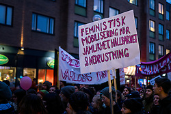 8 March 2016, Umeå, Sweden: Hundreds of Umeå residents marched through the city centre, marking International Women's Day and proclaiming equal rights for all.