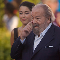 Actor Bud Spencer attends the award giving ceremony presenting the winners of the 200 Women's Backstroke swimming competition during the 13th FINA Swimming World Championships.