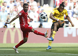 June 23, 2018 - Moscow, Russia - MICHY BATSHUAYI (R) of Belgium shoots during the 2018 FIFA World Cup Group G match between Belgium and Tunisia in Moscow. Belgium won 5-2. (Credit Image: © Cao Can/Xinhua via ZUMA Wire)