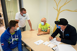 Milosz Bujak, Martin Hvastija, Gorazd Penko and Andrej Cimpric during  UCI Road World Championship 2020, on September 24, 2020 in Hotel Lungomare, Rimini, Italy. Photo by Vid Ponikvar / Sportida