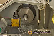 CNC metal lathe at FVCC shoot for Montana Department of Labor in Kalispell, Montana, USA