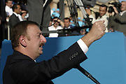 Baku, Azerbaijan, 13/10/2003..Azeri Prime Minister Ilham Aliyev at his final campaign rally as a candidate in the forthcoming Presidential elections. Ilham is the son of  current President Heidar Aliyev, who is apparently being treated in a US hospital after suffering a heart attack, although there is speculation that he is in fact already dead...........