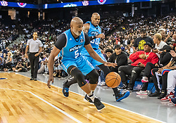 July 6, 2018 - Oakland, CA, U.S. - OAKLAND, CA - JULY 06:Cuttino Mobley (5) co-captain of Power reels in a loose ball during game 3 in week three of the BIG3 3-on-3 basketball league on Friday, July 6, 2018 at the Oracle Arena in Oakland, CA  (Photo by Douglas Stringer/Icon Sportswire) (Credit Image: © Douglas Stringer/Icon SMI via ZUMA Press)