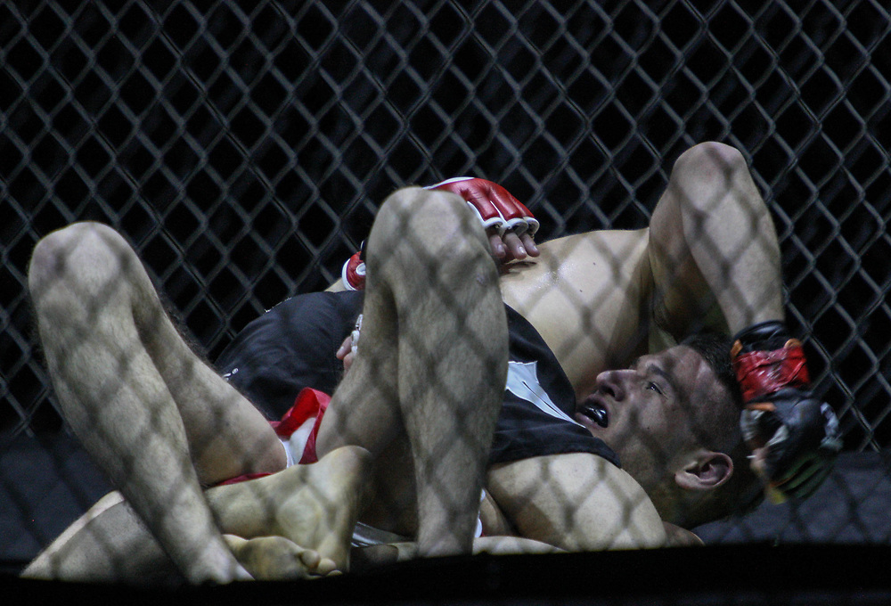 Kampfsport: MMA, We love MMA, Oberhausen, 31.01.2015<br /> Attila Korkmaz (Team MMA Spirit Frankfurt, oben) - Giuseppe Correra (Fight Lounge Dortmund)<br /> © Torsten Helmke