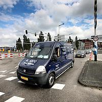 Nederland, Amsterdam , 15 juli 2014.<br /> Afsluiting Piet Hein tunnel zorgt voor verwarring en ergernis automobilisten door onduidelijke markeringen.<br /> Foto:Jean-Pierre Jans