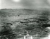 Aerial looking NE at Rancho La Brea Oil Co. Intersection in lower right foreground is Wilshire Blvd. & Fairfax Ave.