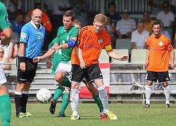 Casper Windfeld (Avarta) og Kasper Kristensen (FC Helsingør) under kampen i 2. Division Øst mellem Boldklubben Avarta og FC Helsingør den 19. august 2012 i Espelunden. (Foto: Claus Birch).