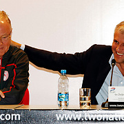 Olimpiakos head coach Dusan Ivkovic and Panathinaikos head coach Zeljko Obradovic (R) seen during their Two Nations Cup Press Conference press conference at Anadolu Efes sports hall in Istanbul Turkey on Friday 30 September 2011. Photo by TURKPIX