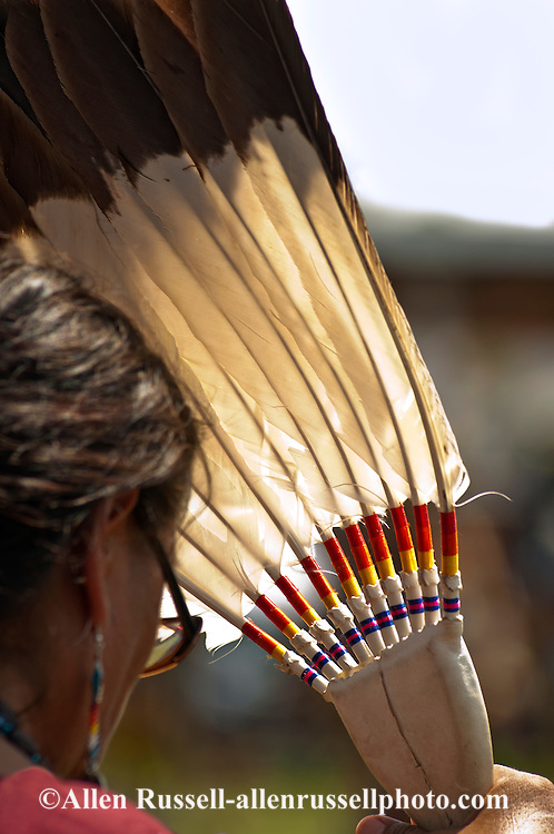 Traditional dancer, Crow Fair powwow, eagle fan, Crow Indian Reservation, Montana, elder