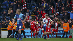 March 9, 2019 - High Wycombe, Buckinghamshire, United Kingdom - Sunserland players and fans celebrate Whatmore goal during the Sky Bet League 1 match between Wycombe Wanderers and Sunderland at Adams Park, High Wycombe, England  on Saturday 9th March 2019. (Credit Image: © Mi News/NurPhoto via ZUMA Press)
