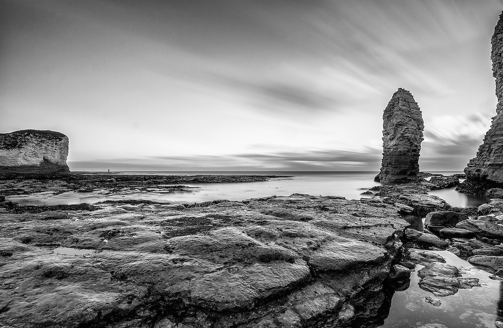 Chalk stack at Flamborough Beach, East Yorkshire.