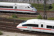 Europe, Germany, Cologne, high-speed trains ICE in the town district Deutz, ICE 1 and ICE 3.....Europa, Deutschland, Koeln, Hochgeschwindigkeitszuege ICE im Stadtteil Deutz, ICE 1 und ICE 3...