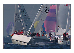 Bell Lawrie Series Tarbert Loch Fyne - Yachting.The first day's inshore races...Sigma 33 , Sigmatic, K 4270 on the busy Talisker one design course..