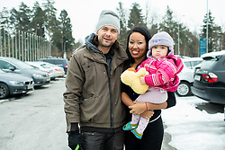 Portrait of Rok Flander, Slovenian Snowboarder with his wife Gabriela and daughter Jade two days before his fairwell run, on January 26, 2017 in 4Points by Sheraton Ljubljana Mons Hotel, Slovenia. Photo by Vid Ponikvar / Sportida