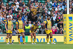 Worcester Warriors players look dejected - Rogan Thomson/JMP - 03/09/2016 - RUGBY UNION - Twickenham Stadium - London, England - Saracens v Worcester Warriors - Aviva Premiership London Double Header.
