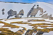 Snow on slopes of mountains on Haines Road, Chilkoot Pass, British Columbia, Canada