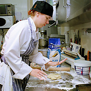 Chef Paula Hotti making breakfast scones at The Three Chimneys Restaurant, Colbost, Isle of Skye, Scotland, UK.