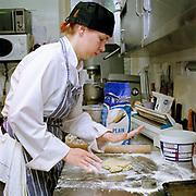 Chef Paula Hotti making breakfast scones at The Three Chimneys Restaurant, Colbost, Isle of Skye, Scotland, UK.