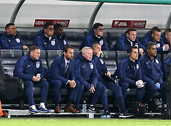Interim England Manager Gareth Southgate, Wayne Rooney of England and the rest of the bench watch the action - Mandatory by-line: Robbie Stephenson/JMP - 11/10/2016 - FOOTBALL - RSC Stozice - Ljubljana, England - Slovenia v England - World Cup European Qualifier