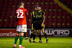 Jack Baldwin of Bristol Rovers and Josh Grant of Bristol Rovers celebrate victory over Walsall - Mandatory by-line: Robbie Stephenson/JMP - 07/11/2020 - FOOTBALL - Banks's Stadium - Walsall, England - Walsall v Bristol Rovers - Emirates FA Cup First Round