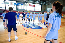 Primoz Pori with girls at practice of Slovenian Handball Women National Team, on June 3, 2009, in Arena Kodeljevo, Ljubljana, Slovenia. (Photo by Vid Ponikvar / Sportida)