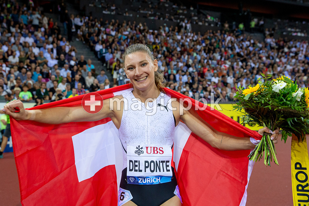 Third placed Ajla Del Ponte of Switzerland reacts after competing in the women's 100m during the Iaaf Diamond League meeting (Weltklasse Zuerich) at the Letzigrund Stadium in Zurich, Switzerland, Thursday, Sept. 9, 2021. (Photo by Patrick B. Kraemer / MAGICPBK)