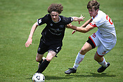 Hawke's Bay United's Jesse Randall gets past Waitakere United's Nicholas Milicich in the Handa Premiership football match, Hawke's Bay United v Waitakere United, Bluewater Stadium, Napier, Sunday, December 20, 2020. Copyright photo: Kerry Marshall / www.photosport.nz
