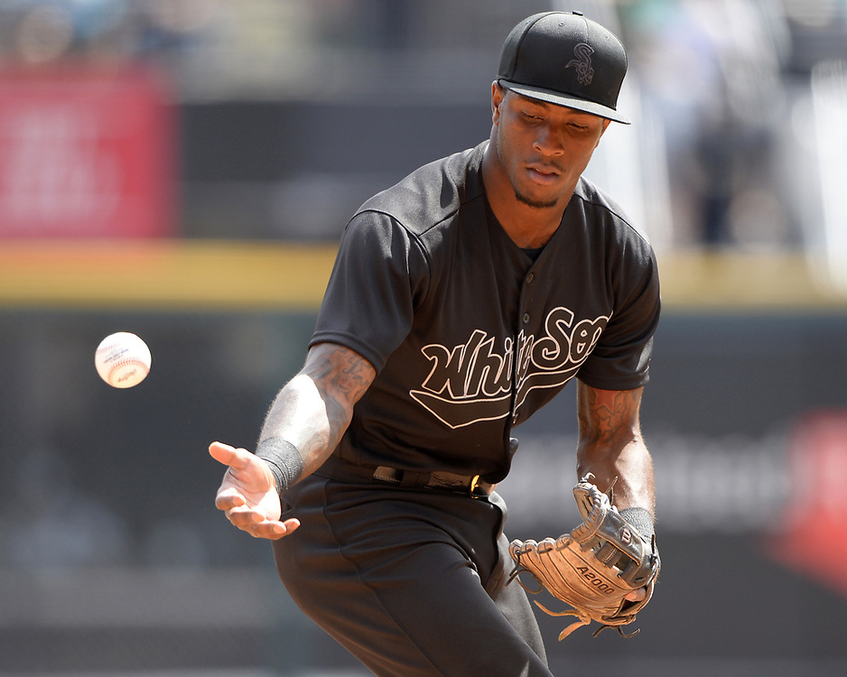 CHICAGO - AUGUST 25:  Tim Anderson #7 of the Chicago White Sox bobble the baseball against the Texas Rangers during Players Weekend on August  25, 2019 at Guaranteed Rate Field in Chicago, Illinois.  (Photo by Ron Vesely)  Subject:   Tim Anderson
