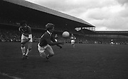 GAA All Ireland Minor Football Final Cork v. Loais 24th September 1967 Croke Park.<br /><br />Cork Forward E. Kirby gains possession in a race for the ball and stops ball going over Laois line *** Local Caption *** It is important to note that under the COPYRIGHT AND RELATED RIGHTS ACT 2000 the copyright of these photographs are the property of the photographer and they cannot be copied, scanned, reproduced or electronically stored in any form whatsoever without the written permission of the photographer