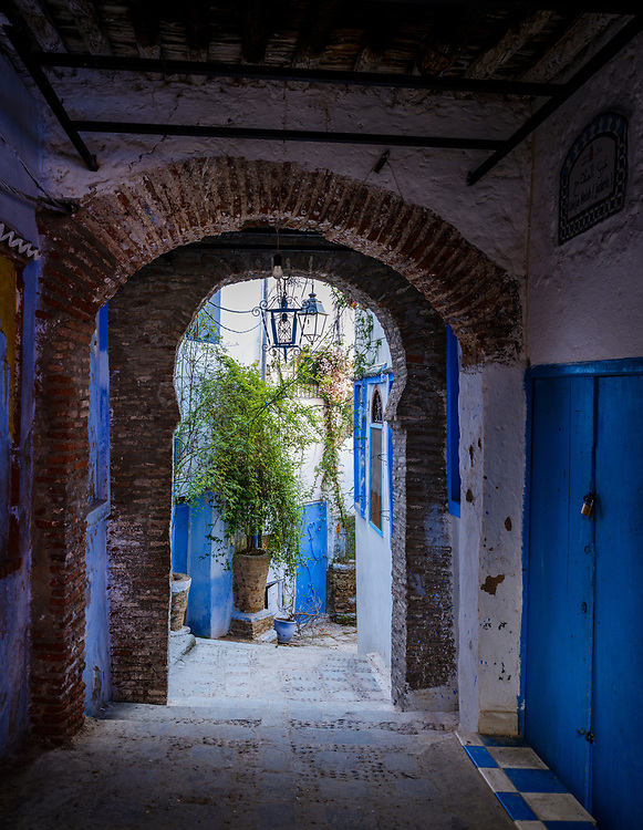 CHEFCHAOUEN, MOROCCO - CIRCA MAY 2018: Typical street of Chefchaouen