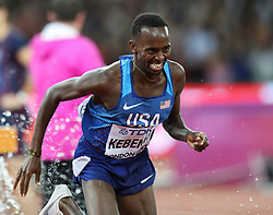 London, August 08 2017 . A determined grimace form Stanley Kipkoech Kebenei, USA, in the men's 3,000m steeplechase final on day five of the IAAF London 2017 world Championships at the London Stadium. © Paul Davey.