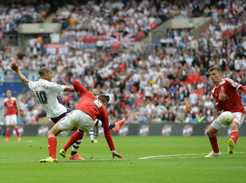 GOAL - Preston North End's Jermaine Beckford scores his sides third goal <br /> <br /> Photographer Ian Cook/CameraSport<br /> <br /> Football - The Football League Sky Bet League One Play-Off Final - Preston North End v Swindon Town - Sunday 24th May 2015 - Wembley Stradium - London<br /> <br /> © CameraSport - 43 Linden Ave. Countesthorpe. Leicester. England. LE8 5PG - Tel: +44 (0) 116 277 4147 - admin@camerasport.com - www.camerasport.com